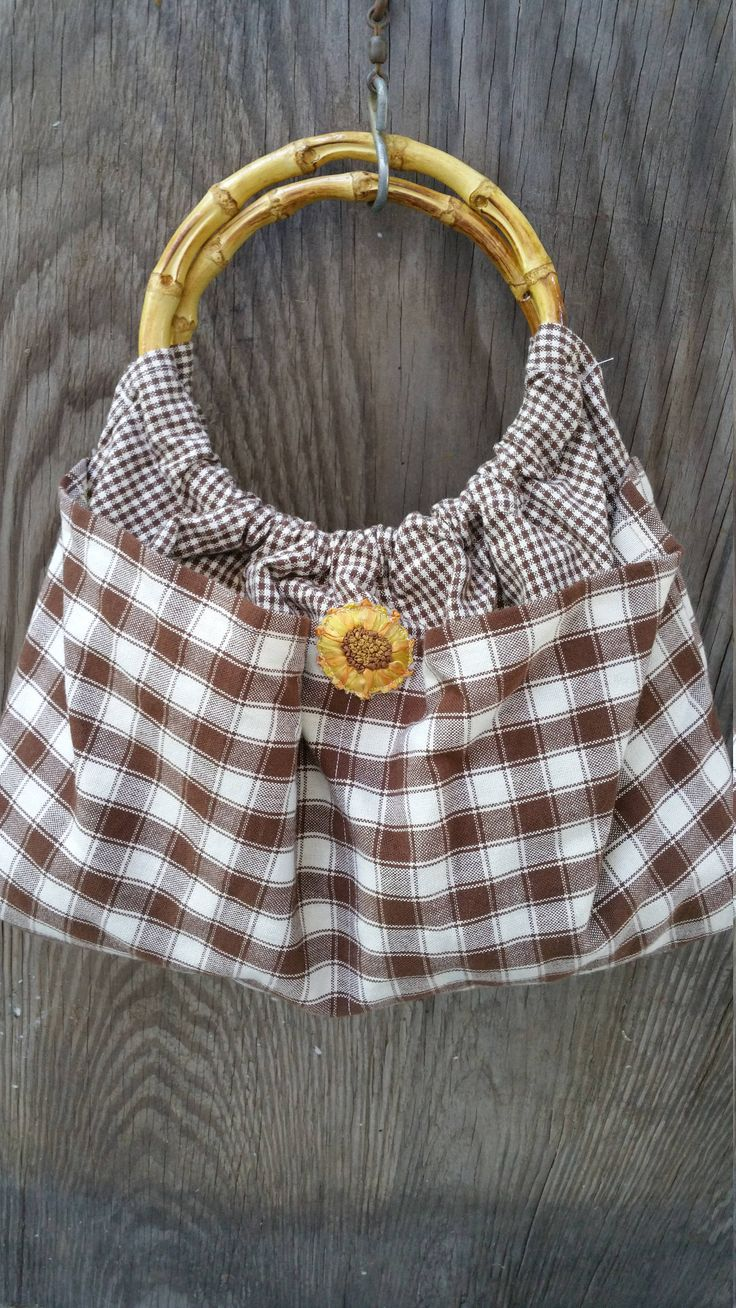 Brown Tea Towel Hobo Purse / Bamboo Handled Bag / Brown & White Plaid Mini Check / Bohemian Bag / Sunflower Boho Bag Co-Worker Birthday Gift by CaliforniaCrownJewel on Etsy