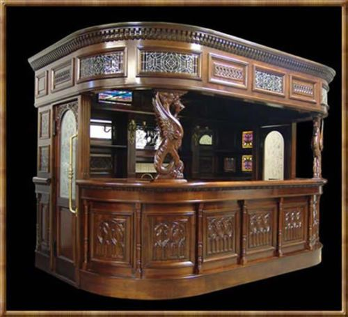 British Pub Saloon Home Bar Drk Oak Wood Old Styl Carved Tavern Furniture Canopy British Pub