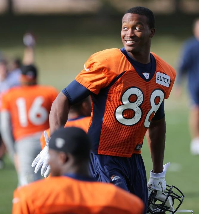 WR Demaryius Thomas smiles as he gets loose.