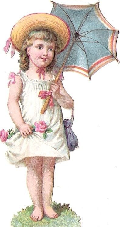 Oblaten Glanzbild scrap die cut chromo Kind 9,5cm child girl Schirm umbrella: