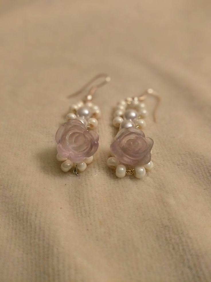 White Pearl and Lavender Flourite Rose Earrings by SassieDiva on Etsy