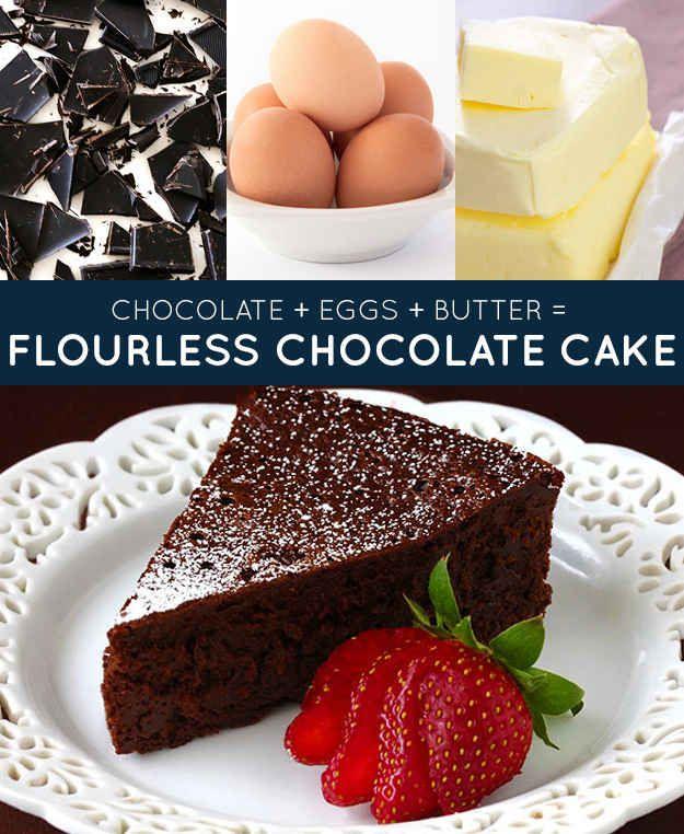 Chocolate + ovos + manteiga = bolo de chocolate sem farinha   33 receitas geniais de apenas três ingredientes