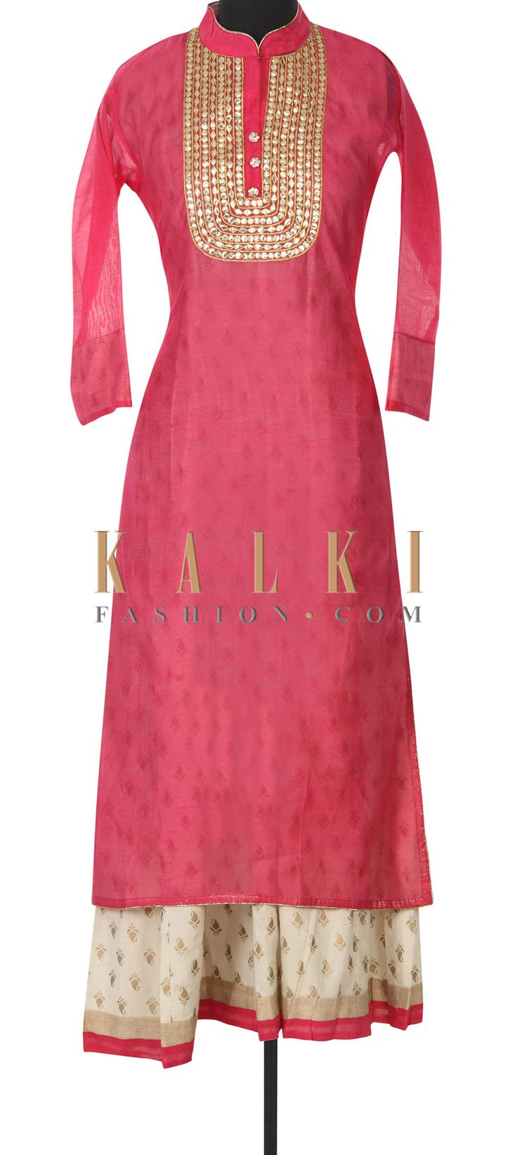 Buy this Pink kurti adorn in gotta patch embroidery only on Kalki