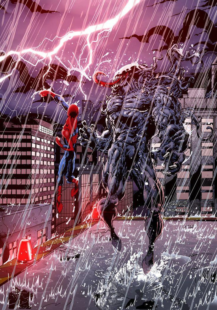 #Spiderman #Fan #Art. (Spidey vs Venom) By: DVSmallville. ÅWESOMENESS!!!™