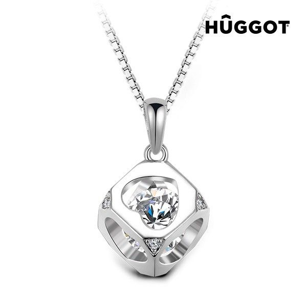Hûggot Cube 925 Sterling Silver Pendant with Zircons Created with Swarovski®Crystals