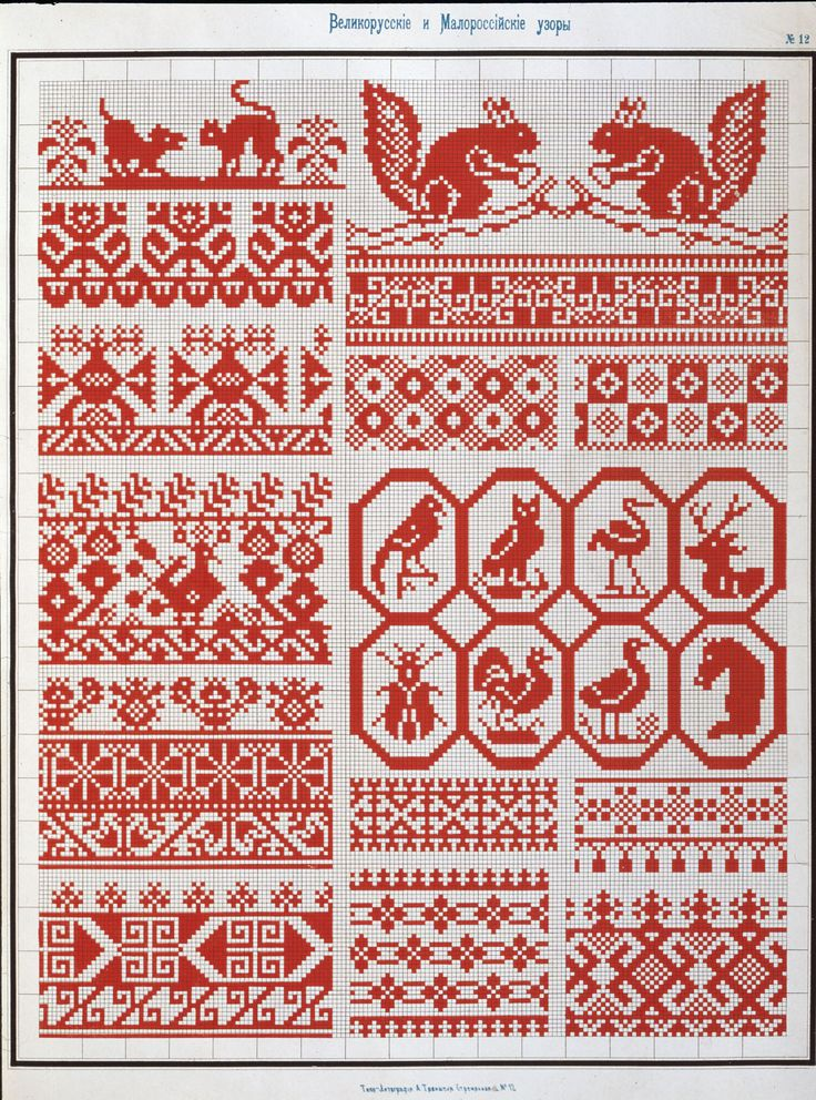 Folkloric border embroidery patterns - can be used for cross stitch, needlepoint, knitting... #diy #crafts
