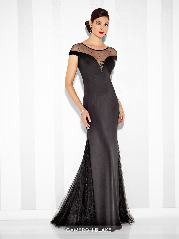 Matte jersey trumpet gown with hand-beaded illusion cap sleeves and jewel neckline, deep plunging sweetheart bodice, beaded illusion back, flared skirt with beaded tulle side insets and sweep train. Sizes: 4 – 20 Colors: Black, Sapphire