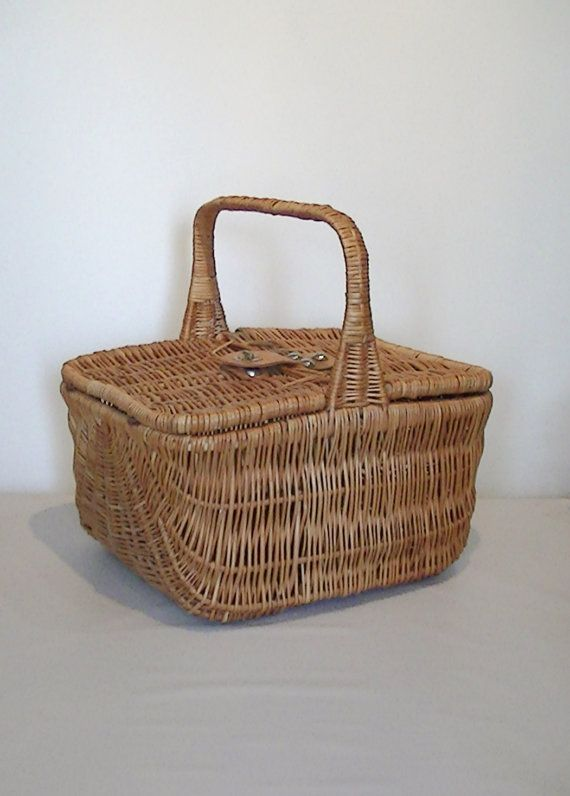 Vintage Wicker Hinged Double Lid Picnic Basket by Lifeinmommatone