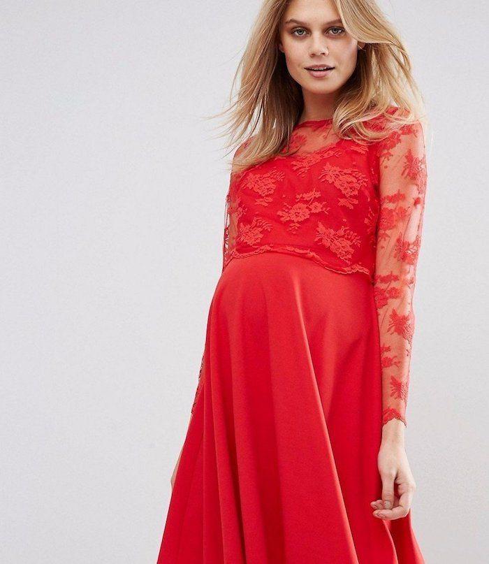 maxi kleider hochzeit rotes kleid mit spitze und dekorationen mode für schwangere damen