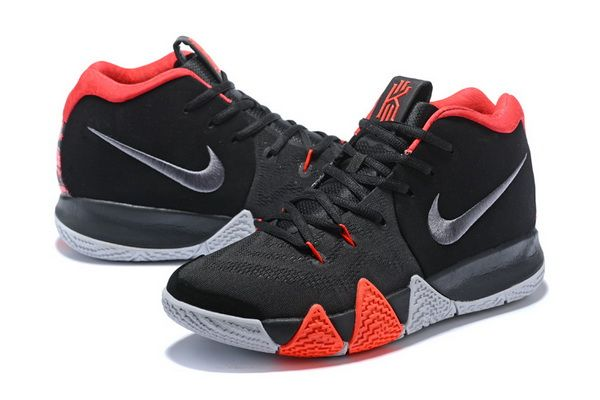33b72b934f87 Mens Nike Kyrie 4 Coal Black Silver Blood Red Basketball Shoes ...