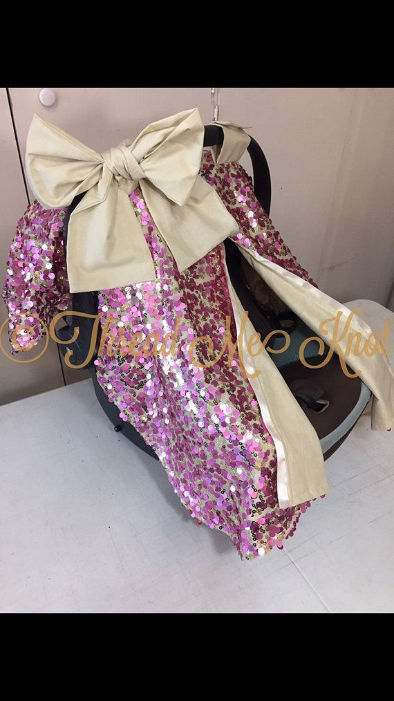 LUX | New Rosey Pink & Gold Sequin Car Seat Canopy with Slit