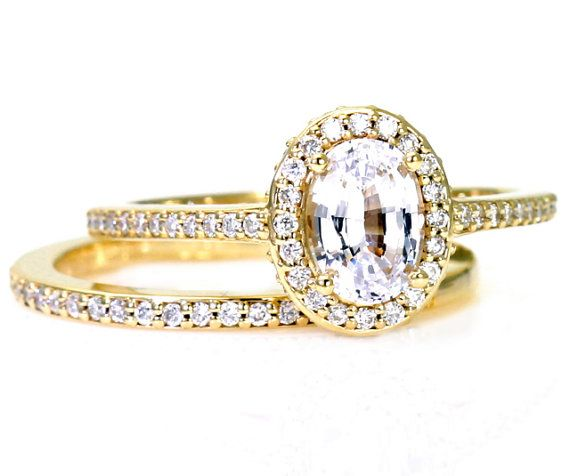 Oval White Sapphire Wedding Set Engagement Ring Oval by RareEarth, $1889.00