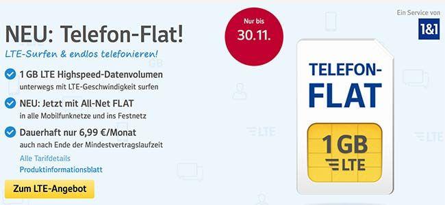 1&1 Tarife ► bis zu 10GB Internet Flat und Telefon Flat ab 6,99€