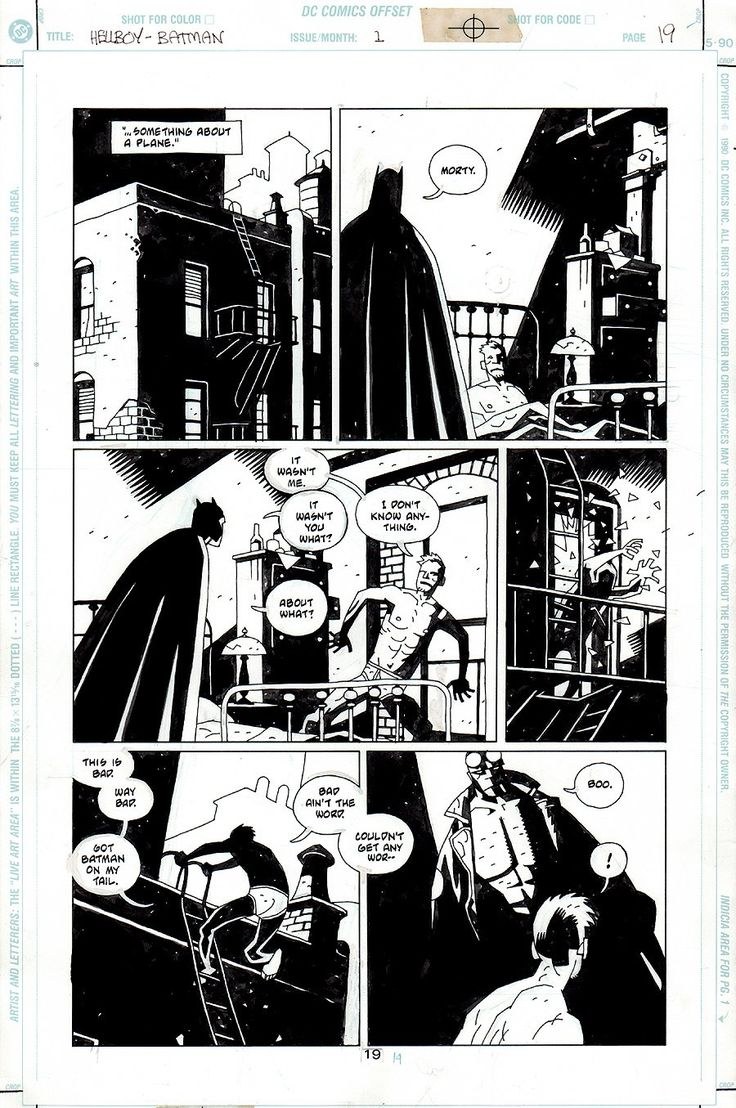 Comic Art For Sale from RomitaMan Original Art, Batman / Hellboy #1 p 19 (1999) by Comic Artist(s) Mike Mignola