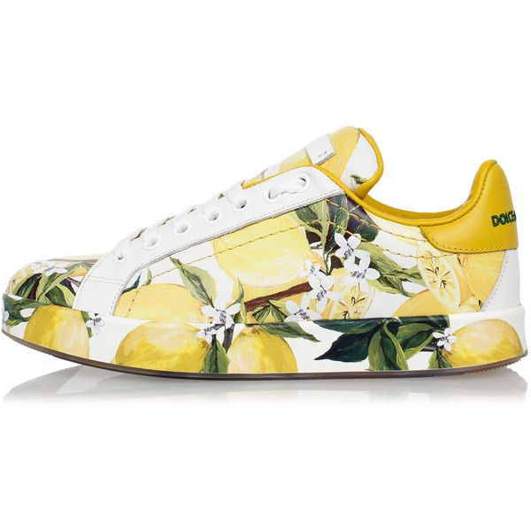 Dolce & Gabbana Printed Leather Sneakers found on Polyvore featuring shoes, sneakers, yellow, pattern leather shoes, dolce gabbana sneakers, print shoes, leather trainers and patterned shoes