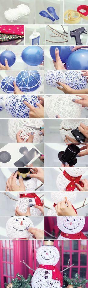 Ya habíamos visto aquí el mismo sistema para crear una cesta o una lámpara, pero en este caso lo utilizan para generar un interesante muñeco de nieve. Utilizando globos como moldes para fijar el hilo y endurecerlo mediante cola para crear la base del muñeco a la que le siguen el resto de elemen…