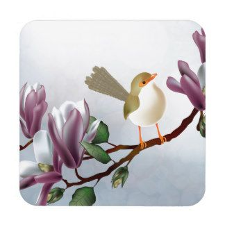 Bird & magnolia tree coaster