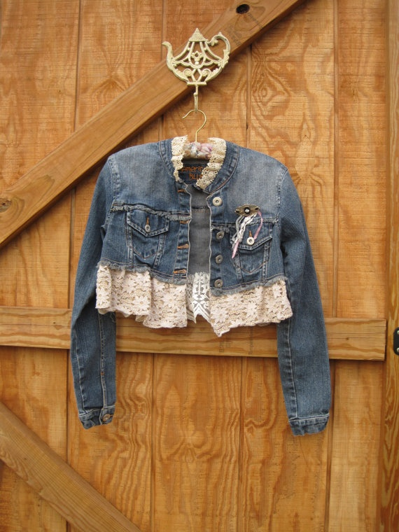 eco cropped jeans jacket lace trim faded medium by ShabyVintage, $49.90;   I could make this!