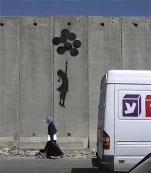 Balloons, Banksy – West Bank barrier, Palestine