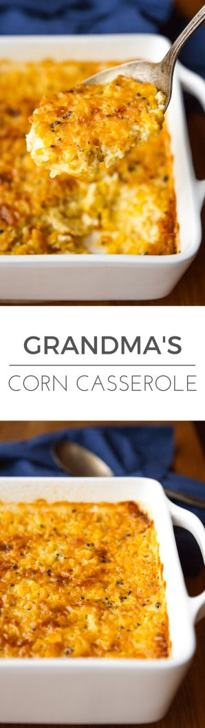 Corn Casserole Recipe -- this creamed corn casserole recipe is SO good you'll want to scrape the dish completely clean to get every last bit of caramelized goodness from the corners! It's on the menu for every family gathering I host… | via @unsophisticook on unsophisticook.com