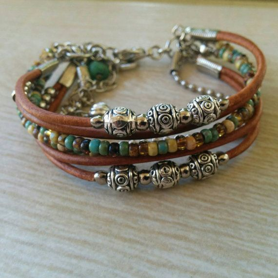 Womens Beaded Multi Strand Leather Bracelet// Hippie Charm Bracelet// Bohemian…