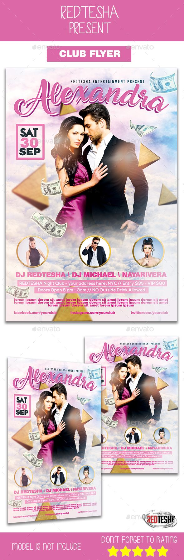 Club #Flyer - Clubs & #Parties #Events Download here: https://graphicriver.net/item/club-flyer/19522874?ref=alena994