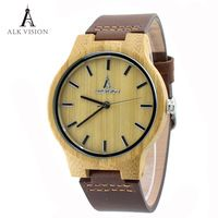 ALK Vision Wood Watches with Real Leather Straps Japan Quartz Movement 2035 Wooden Casual Watch For Men Women Fashion Watch