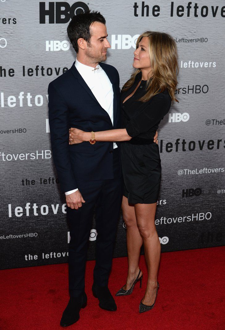 Pin for Later: The Hands-Down Cutest Red Carpet Pictures of 2014 Justin Theroux and Jennifer Aniston Shared a Look of Love at the Leftovers Premiere
