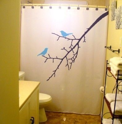 Blue Birds Shower Curtain Tree Branch bathroom decor bath kids Nature BlueBird Lovebirds blossoms Bird Can Be Any Color via Etsy