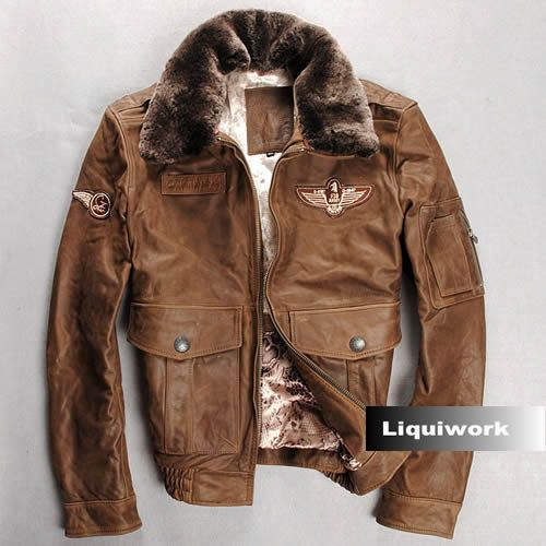 Camel Cowhide Leather Lamb Fur US Air Force Army Bomber Jacket Men SKU-116138