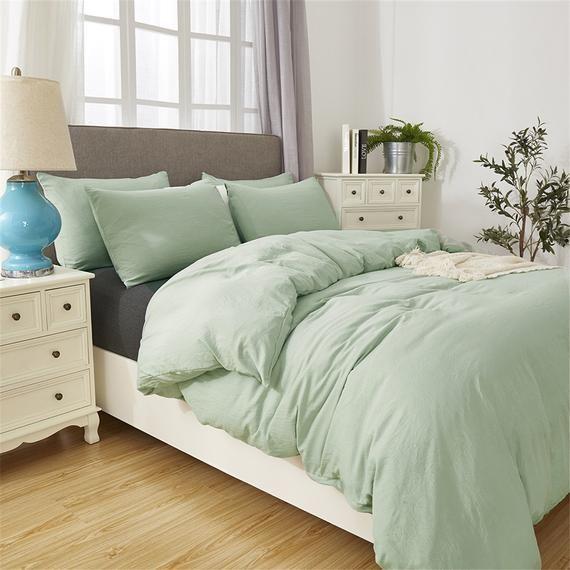 Minimalist Duvet Cover Pea Green, Light Green Quilt Bedding
