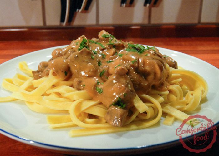 In Recipe Box - classic, simple beef stroganoff - used chicken broth instead of wine, ketchup instead of tomato paste, and it needed a full cup more beef broth.  DE-LIC-IOUS!!!!