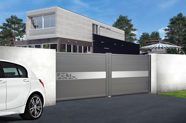 Portail Contemporaine & Citadine Modèle DÉCOR 4 Lames larges 255x18 mm Parements aluminium anodisé