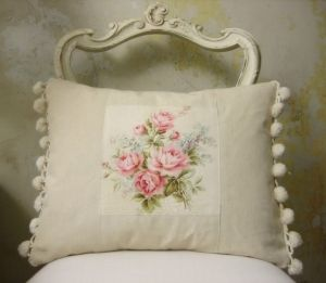 vintage rose--with vintage pillow case pieces strengthen with fusible backing.