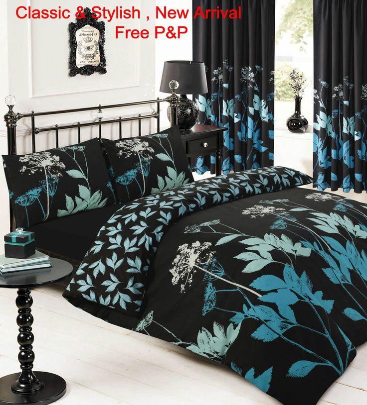 Luxury Sophie Black Teal 3Pcs Duvet set Single Double King Super King in Home, Furniture & DIY, Bedding, Bed Linens & Sets | eBay