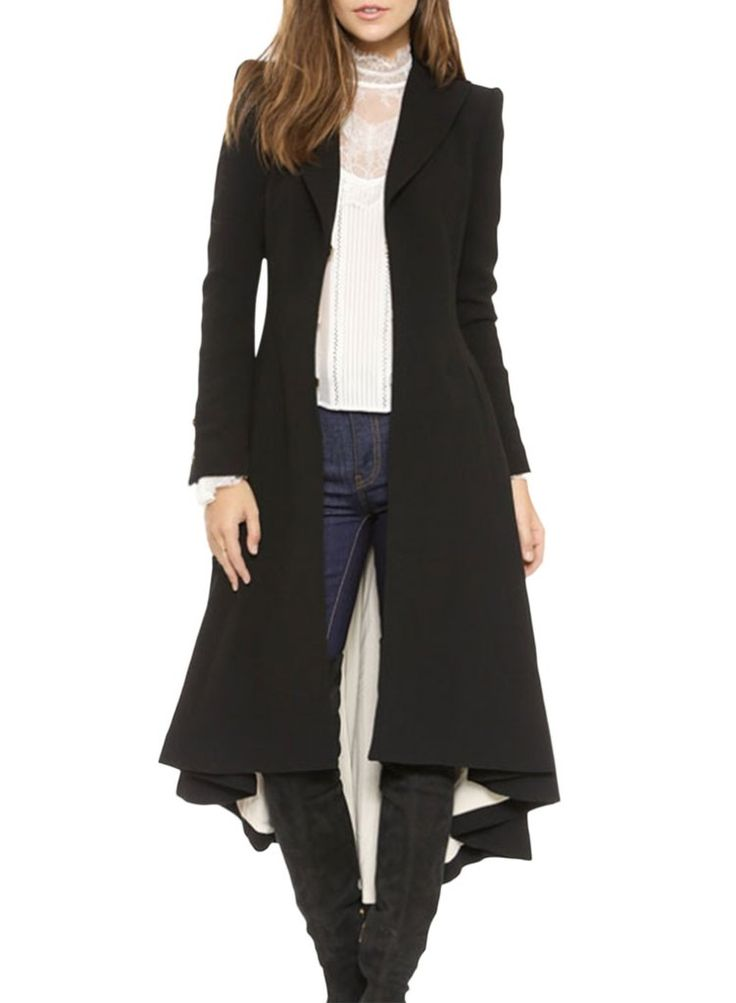 DETAILS: Black Shawl Long Wollen Trench Coat Lapel Collar Long Sleeve Loose fit FIT: Relaxed style No Stretch through fabric Standard sizing Cotton and Polyester STYLING: Perfect for upcoming autumn T