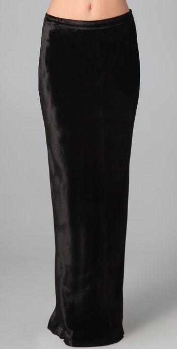 T By Alexander Wang Panne Velvet Long Skirt thestylecure.com