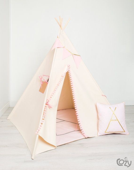 indian teepee kids play tent tipi gold by cozydots on Etsy