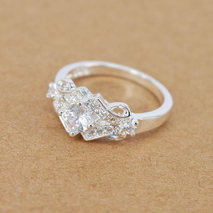 1 of 8: Neu Damen Silber Plated Ringe Kristall Hochzeit Ehering Größe 7/8 Schmuck MIDE