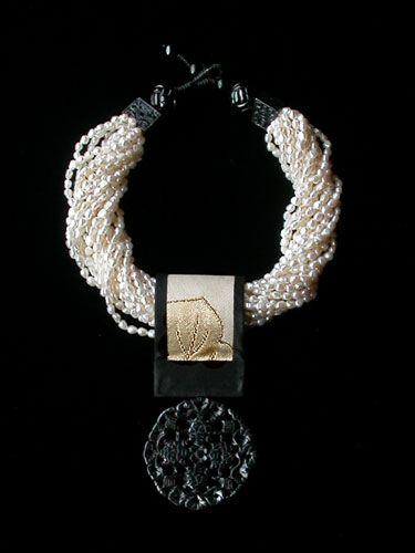 Gretchen Schields White Pearls Ivory Obi Onyx