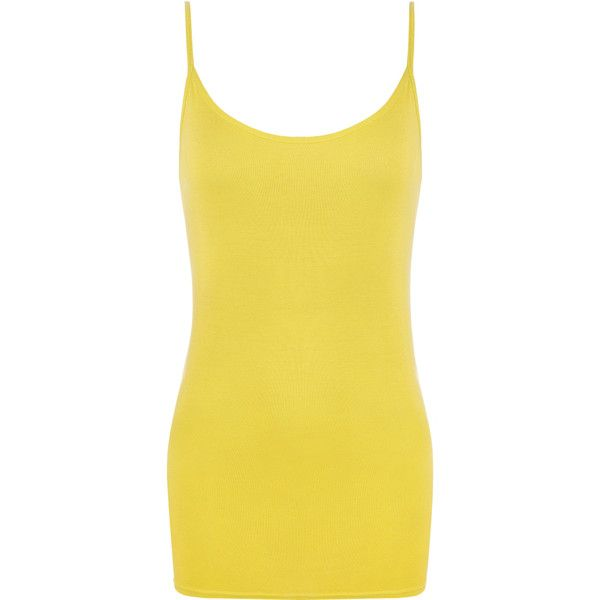 Sandra Strappy Camisole Vest Top ($9.95) ❤ liked on Polyvore featuring tops, yellow, yellow cami, round top, strappy cami, camisole tank top and yellow tank