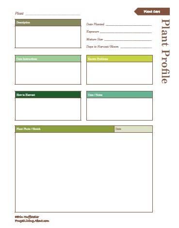 27 best GARDEN Printables images on Pinterest Garden, Filofax - profile sheet template