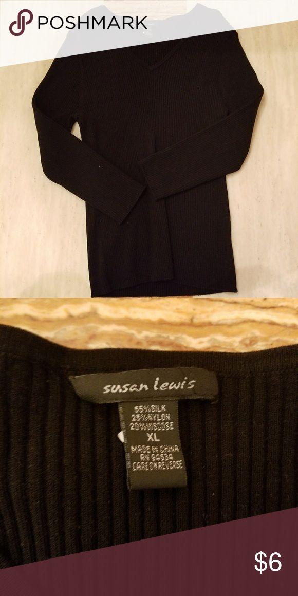 Pretty Susan Lewis XLWomen's black Cardigan Sweate Pretty Susan Lewis XLWomen's black Cardigan Sweater Button down sz XL susan lewis Sweaters
