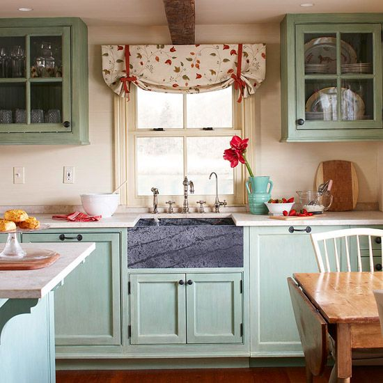 Would love to have a cup of coffee and some cookies in this spaceCurtains Style, Mint Green Kitchens Cabinets, Kitchens Colors, Cabinets Colors, Color Schemes, Pretty Fabrics, Kitchens Ideas, Colors Schemes, Farmhouse Sinks