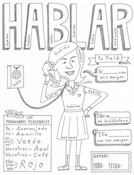 Hablar ~Color by conjugation ~Spanish verb practice ~no