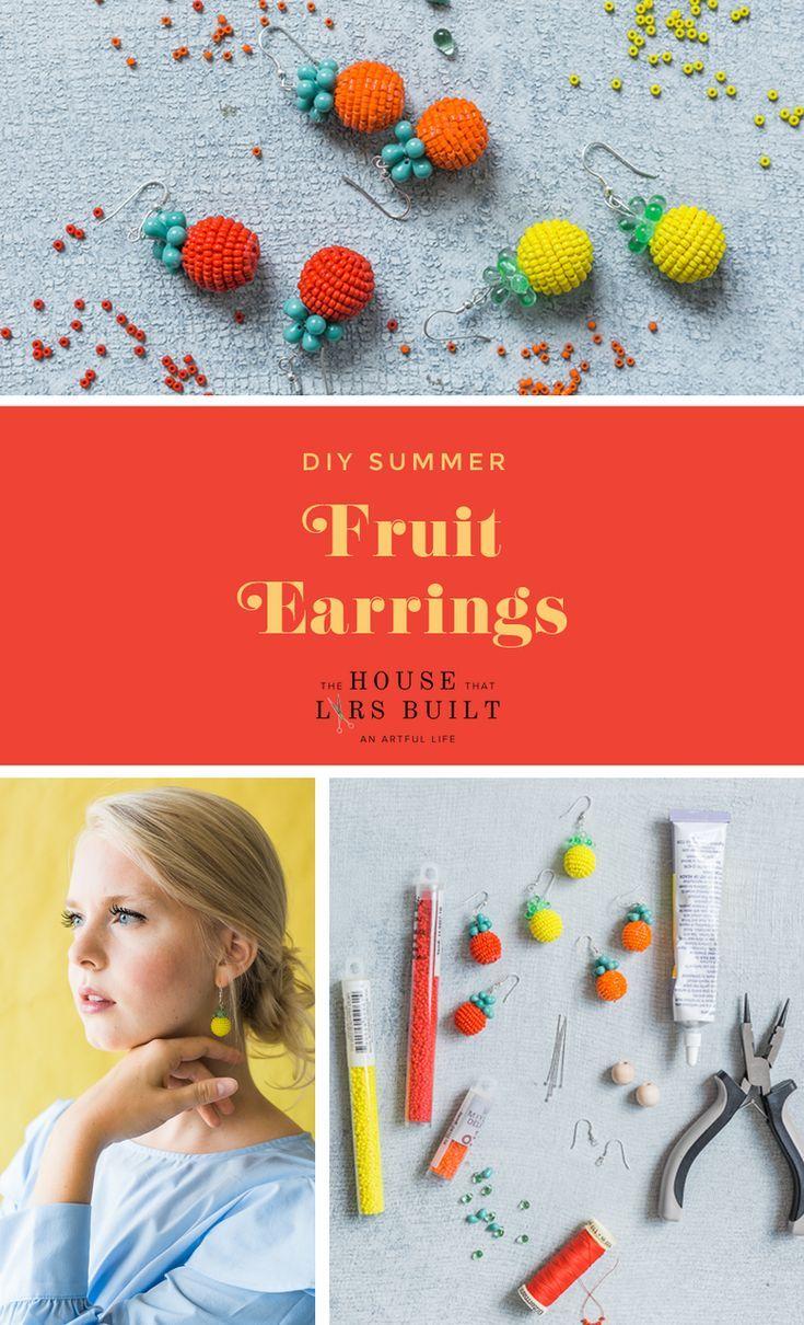 Beaded Fruit Earrings Beaded Bead Tutorial In 2020 Beaded