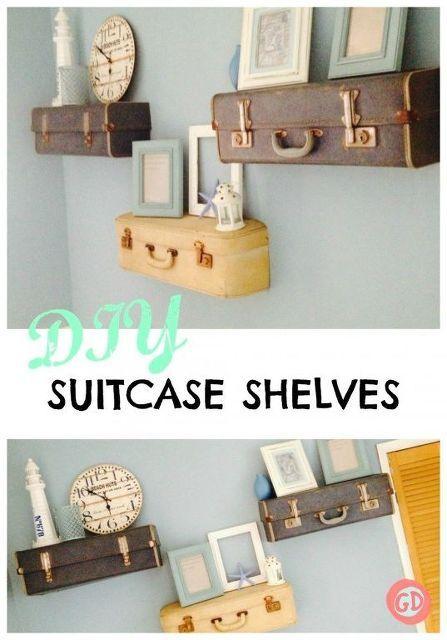 diy suitcase shelves, diy, home decor, repurposing upcycling, shelving ideas