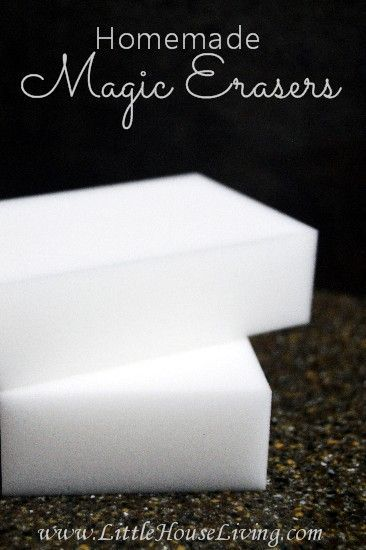 What to buy to make your own homemade Magic Erasers and also how to make an extra power scrubber for them for the really stuck on stains!: