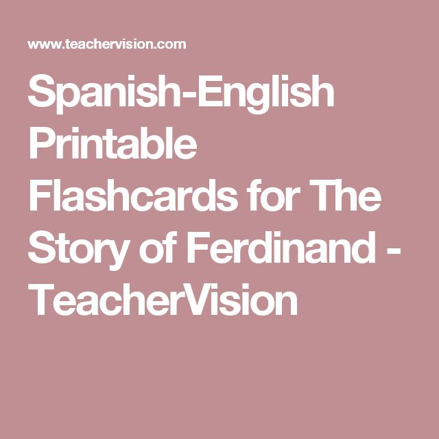 Spanish-English Printable Flashcards for The Story of Ferdinand - TeacherVision