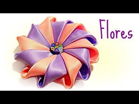 Cómo hacer flores con cinta de raso. How to make ribbons flowers. - YouTube